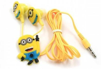 CASVO MINIONS In-Ear Earphone,Includes 3 Additional Earplug Covers Compatible with All Android and IOS Device Wired Headset with Mic Earphone Cable Organizer