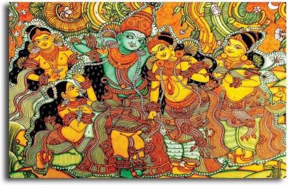 PIXELARTZ Canvas Painting - Kerala Mural Art Krishna In Vrindavan - Without  Frame Digital Reprint 15 inch x 23 inch Painting Price in India - Buy  PIXELARTZ Canvas Painting - Kerala Mural
