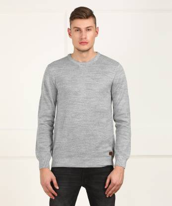 Metronaut Self Design Round Neck Casual Men Grey Sweater