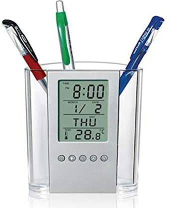 KRAFTMASTERS 1 Compartments Led Digital Calender Pen holder with Timer, Alarm clock, Thermometer, Digital Pen Stand, Digital Clock, All In One Pen Stand, Office Organizer, Desk Organizer (Premium Quality) pen holder