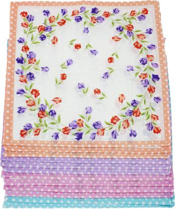 "Neska Moda Women's Floral Cotton 30x30 CM [""Multicolor""] Handkerchief  (Pack of 12)"