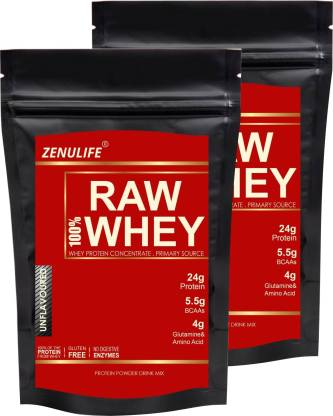zenulife 100% Best Raw Whey Protein 400 GM Pack of 2 (800 GM. Unflavored) Whey Protein