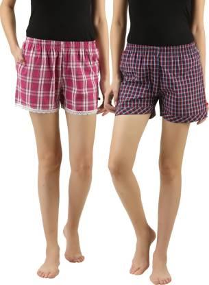 Curare Checkered Women Multicolor Night Shorts