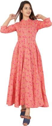 BHAGLI Women Gown Pink Dress