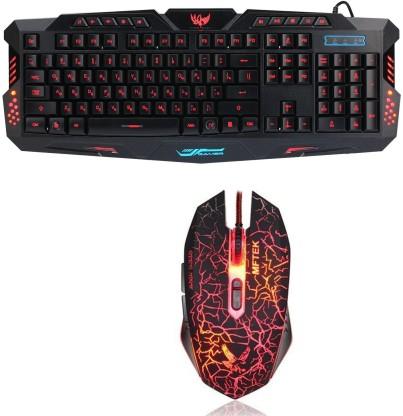 MFTEK Multicolor LED Backlit Wired Gaming Keyboard and Mouse