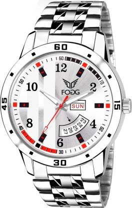 Fogg 2058-WH Printed White Day and Date Analog Watch - For Men