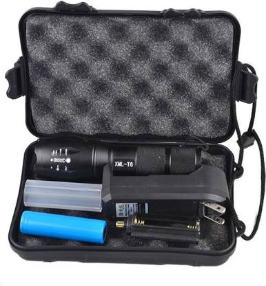 Care 4 5 modes Flashlight LED T6 with Super Bright Cree t6 light with Rechargeable battery and charging kit with Zoom option powered by rechargeable battery OR ( 3xAAA bateries not included,) Torch