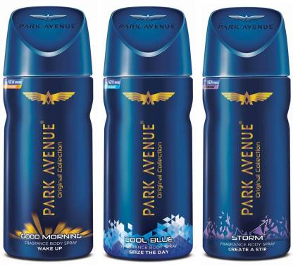 Buy Park Avenue Good Morning , Cool Blue & Storm Deodorant Spray - For Men  (Combo Pack 2 + 1 Free, 150 ml each)  (300 ml, Pack of 2)