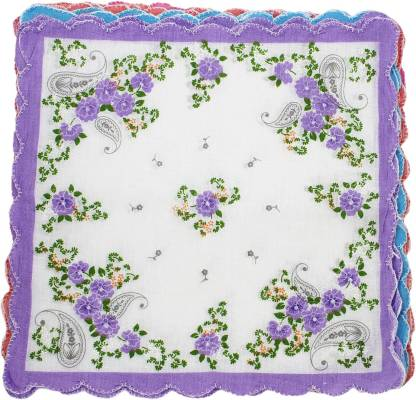 "Neska Moda Women's Floral Cotton 30x30 CM [""Multicolor""] Handkerchief"