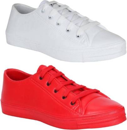 My Cool Step Tennis Red & White Shoes for Men (Combo of 2 Shoes) Sneakers For Men