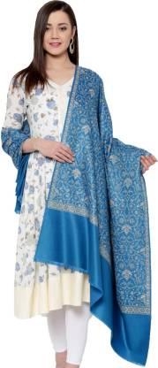 Weavers Villa Wool Blend Woven Women Shawl  (Blue)