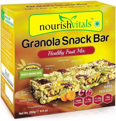nourishvitals Granola Snack Bar - Healthy Fruit Mix (5 Bars) - High in Energy, Protein