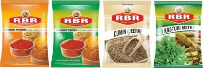 RBR Premium Mix Spices-Turmeric(Haldi),Coriander(Dhaniya),Cumin(Jeera) Seeds,Dried Fenugreek Leaves(Kasturi Methi) 100g Each(4 x 100 g)
