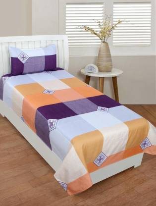 Zain 120 TC Polycotton Single Checkered Bedsheet