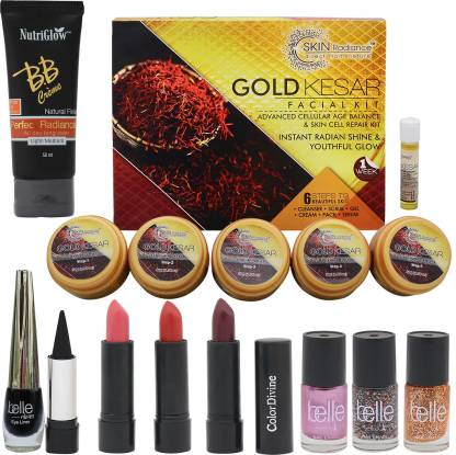 NutriGlow Skin Radiance gold kesar facial kit with 1 BB Cream,3 lipsticks,3 nail paints,1 kajal and 1eye linear