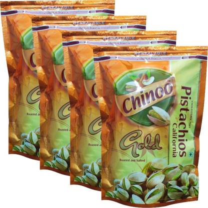 Chinoo Roasted & Salted California Pistachio Nuts, 4 Packs of 250g Each Pistachios