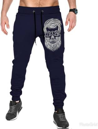 Tripr Printed Men Dark Blue Track Pants
