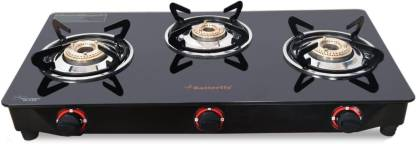 Butterfly Rapid 3 Burner Glass Manual Gas Stove