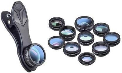 Apexel 10 in 1 Phone Camera Lens Kit Fisheye, Wide Angle, Macro Lens, CPL, Filter Kaleidoscope, and 2X Telescope Lens with Carry Bag Mobile Phone Lens
