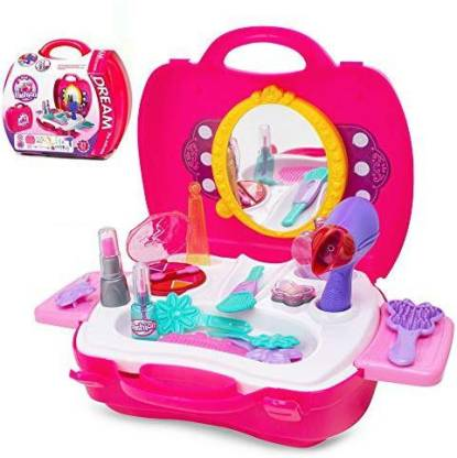 Angela Ange-La Makeup For Girls ? Pretend Play & Dress-Up Make Up Toy Kit Best Gift Set For Little Girls & Kids Include 21 Pieces Beauty Salon Toys W/ Make-Up Box