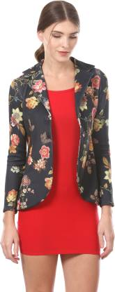 Saadgi Floral Print Single Breasted Casual Women Blazer