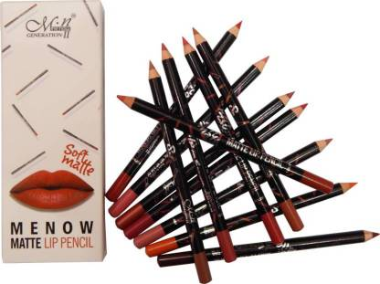 Menow waterproof lip pencil / liner set of 12 multicolor soft matte