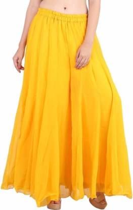 Shararat Flared Women Yellow Trousers