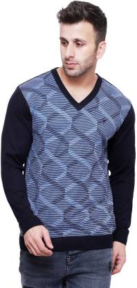Printed V-neck Casual Men Blue Sweater