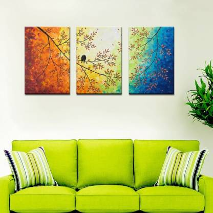 WALLMANTRA Colorful Painting Love Bird on a Branch Premium Quality Canvas / 3 panel canvas print /Home Decor for Living Room, Bedroom, Office Decoration Canvas 24 inch x 49 inch Painting Price