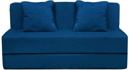 Style Crome Two Seater Sofa Cum Bed with Two Cushion- Perfect for Guests - Blue Single Sofa Bed