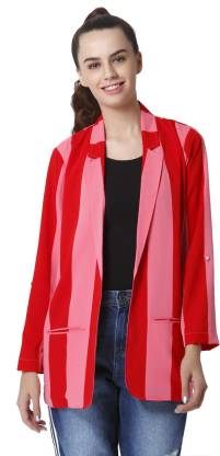 Only Striped Single Breasted Casual Women Blazer