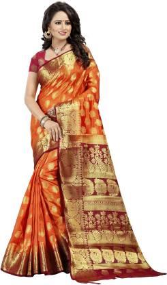 FINE WEAR Self Design Banarasi Cotton Silk Saree