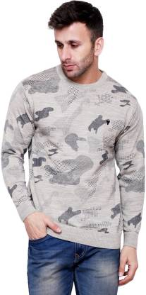Printed Round Neck Party Men Beige Sweater
