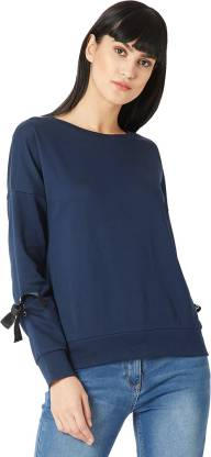 Solid Round Neck Casual Women Blue Sweater