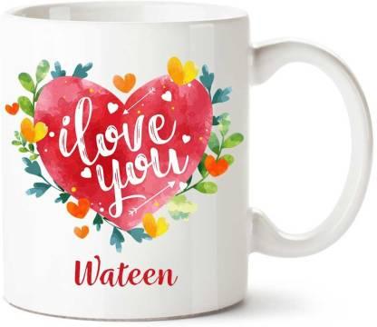 IBGift Wateen I Love You Ceramic coffee Name Ceramic Coffee Mug