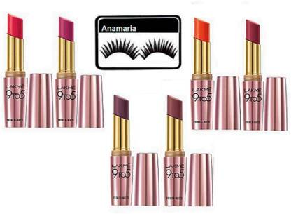anamaria Eyelashes   Lakme 9 to 5 Primer Matte Lipstick  Pack Of 6  7 Items in the set