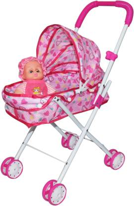 Kiditos Baby Doll Stroller Foldable Baby Pram Toy with Doll for Kids