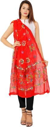 Bohomandala Cotton Blend Embroidered Women Dupatta