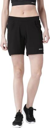 2GO Solid Women Black Sports Shorts