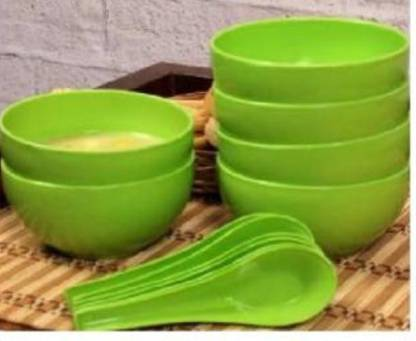 Snowpearl Round Big Soup Bowl with Spoon Plastic Soup Bowl