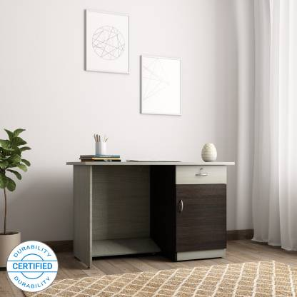 Crystal Furnitech Orion Engineered Wood Office Table   Free Standing, Finish Color   Chocklate Sawline + sandy Sawline  Crystal Furnitech Office Study