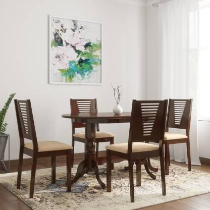 WOODNESS Clarice Solid Wood 4 Seater Dining Set