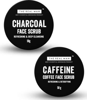 THE REAL MAN charcoal face scrub and coffee face scrub Beard Cream