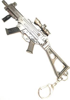 Prime Keychain Long Gun Silver UMP Gun Key Chain With Hook IO Key Chain
