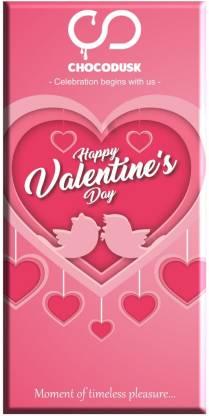 Chocodusk Happy Valentine's Day (Pink) Chocolate Bar, 85 gram Bars