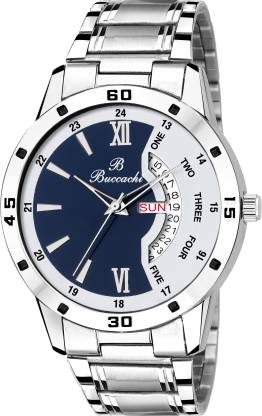 Buccachi B-GR5046-BWH-CH White & Blue Dial Day & Date Functioning Water Resistant Stainless Steel Bracelet Watch for Men/Boys Analog Watch - For Men