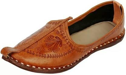 Nirali Men Traditional Natural Brown Leather Jutti Party Wear For Men