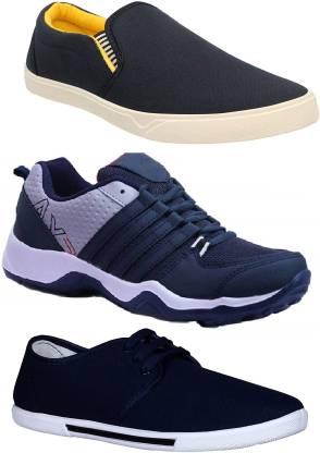 Chevit Combo Pack of 3 Casual Canvas Shoes For Men