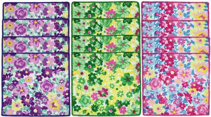 "Neska Moda Womens Floral Cotton 25x25 CM [""Multicolor""] Handkerchief  (Pack of 12)"