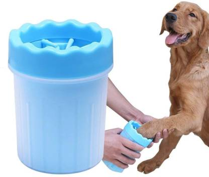 FOODIE PUPPIES Foot Washing Cup, Pet Paw Cleaner Portable Dog Paw Washer with Soft Silicone Bristles for Quickly Cleaning Pets Muddy Feet - Color May Vary (Small) Grooming Gloves for Dog & Cat